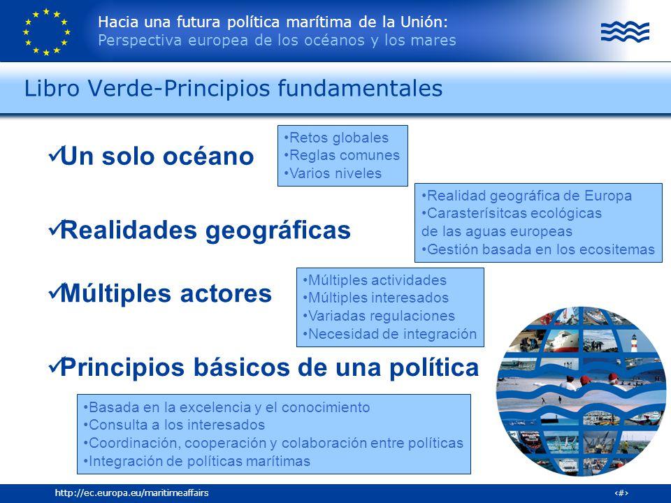 Hacia una futura política marítima de la Unión: Perspectiva europea de los océanos y los mares 18http://ec.europa.eu/maritimeaffairs Libro Verde-Princ