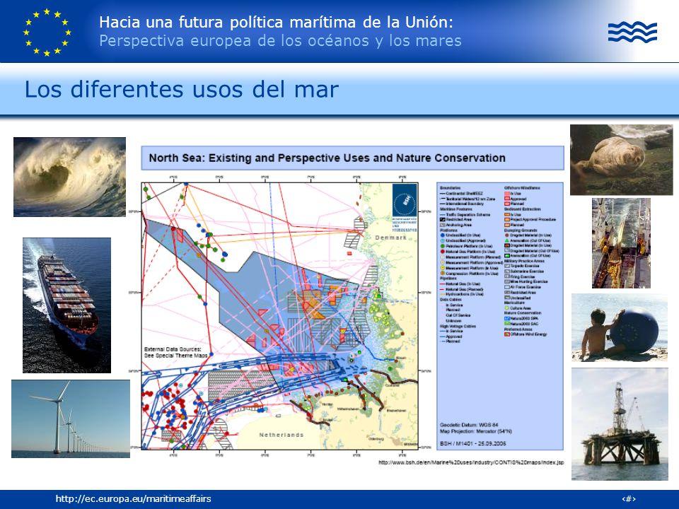 Hacia una futura política marítima de la Unión: Perspectiva europea de los océanos y los mares 4http://ec.europa.eu/maritimeaffairs Los diferentes uso
