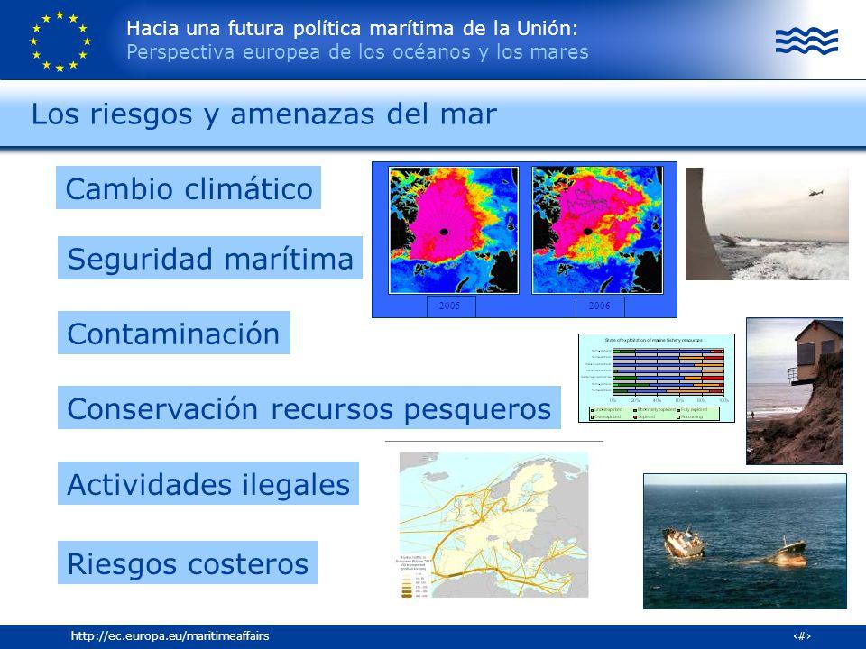 Hacia una futura política marítima de la Unión: Perspectiva europea de los océanos y los mares 5http://ec.europa.eu/maritimeaffairs Los riesgos y amen