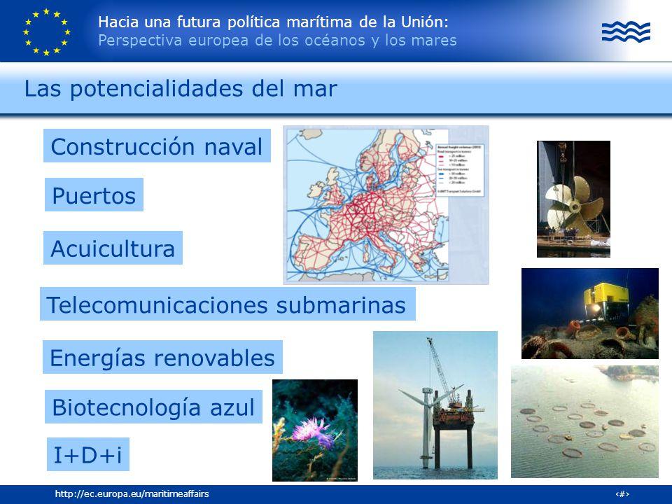 Hacia una futura política marítima de la Unión: Perspectiva europea de los océanos y los mares 6http://ec.europa.eu/maritimeaffairs Las potencialidade