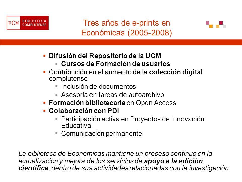 Difusión del Repositorio de la UCM Cursos de Formación de usuarios Contribución en el aumento de la colección digital complutense Inclusión de documen