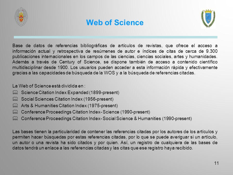 Web of Science Base de datos de referencias bibliográficas de artículos de revistas, que ofrece el acceso a información actual y retrospectiva de resú