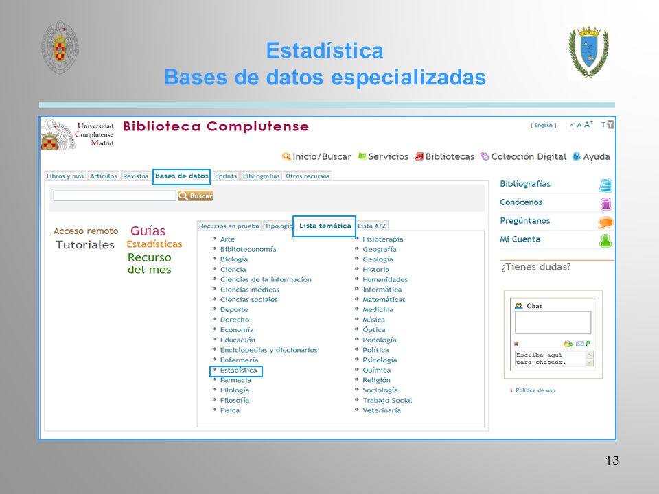 Estadística Bases de datos especializadas 13