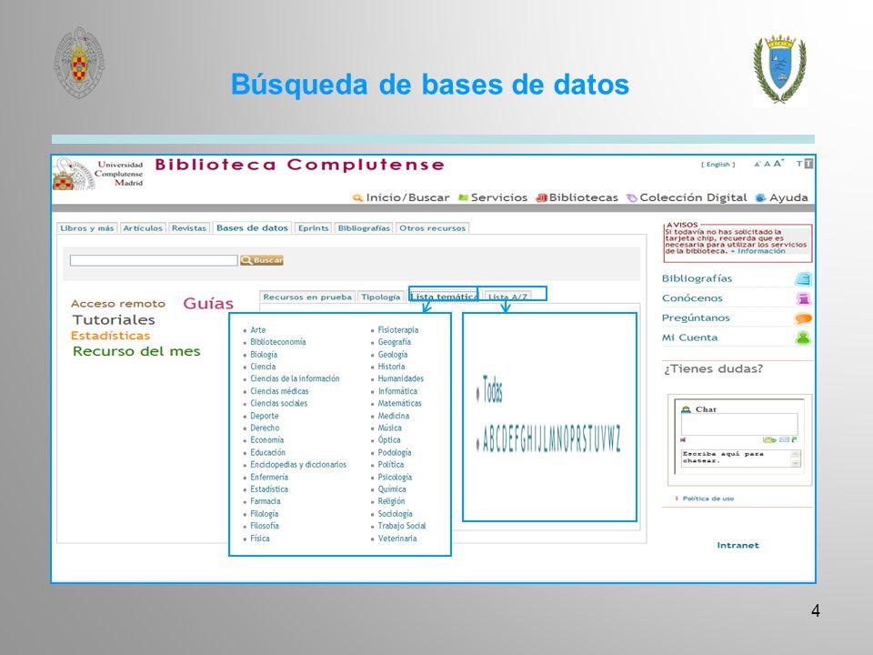 Metabuscador o Multibuscador 5 El Metabuscador de la Biblioteca Complutense permite consultar simultáneamente y de forma sencilla en múltiples bases de datos, tanto referenciales como a texto completo, agrupadss por áreas de conocimiento y por tipos de fuentes de información.