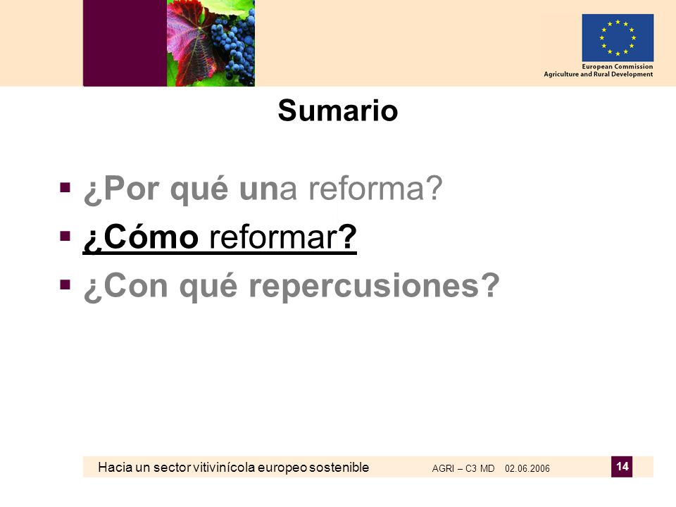 Hacia un sector vitivinícola europeo sostenible AGRI – C3 MD 02.06.2006 14 Sumario ¿Por qué una reforma? ¿Cómo reformar? ¿Con qué repercusiones?