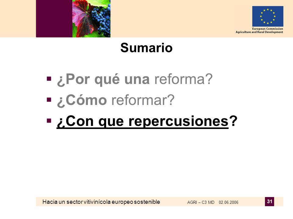 Hacia un sector vitivinícola europeo sostenible AGRI – C3 MD 02.06.2006 31 Sumario ¿Por qué una reforma? ¿Cómo reformar? ¿Con que repercusiones?