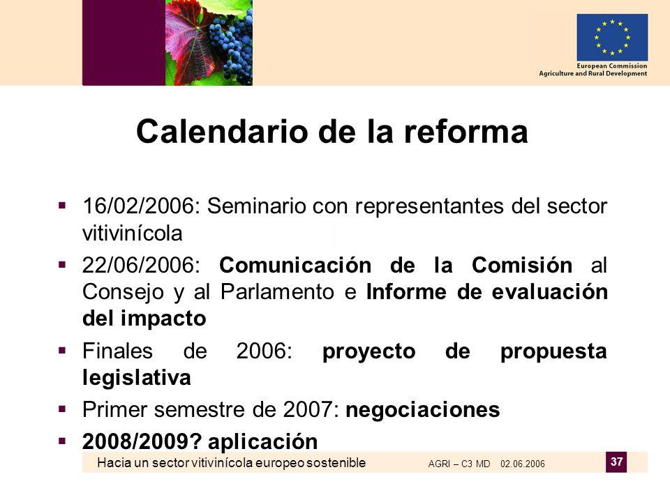 Hacia un sector vitivinícola europeo sostenible AGRI – C3 MD 02.06.2006 37 Calendario de la reforma 16/02/2006: Seminario con representantes del sector vitivinícola 22/06/2006: Comunicación de la Comisión al Consejo y al Parlamento e Informe de evaluación del impacto Finales de 2006: proyecto de propuesta legislativa Primer semestre de 2007: negociaciones 2008/2009.