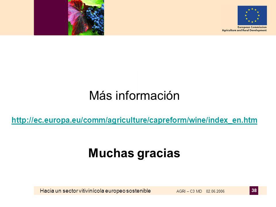 Hacia un sector vitivinícola europeo sostenible AGRI – C3 MD 02.06.2006 38 Más información http://ec.europa.eu/comm/agriculture/capreform/wine/index_en.htm Muchas gracias