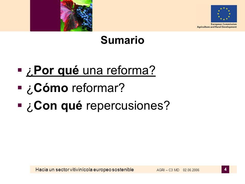 Hacia un sector vitivinícola europeo sostenible AGRI – C3 MD 02.06.2006 4 Sumario ¿Por qué una reforma? ¿Cómo reformar? ¿Con qué repercusiones?