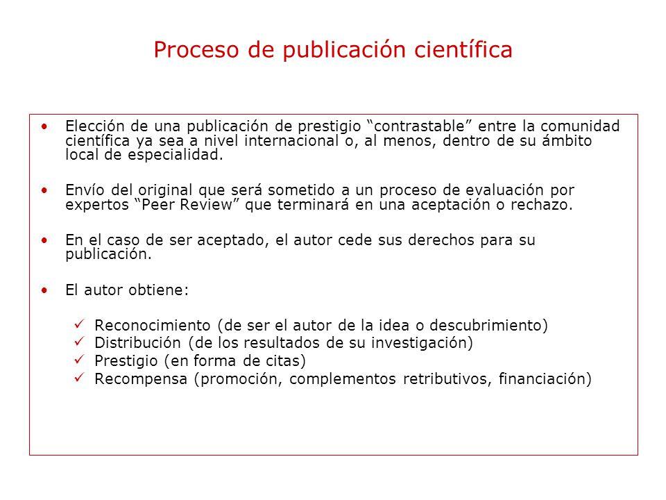 Proceso de publicación científica Elección de una publicación de prestigio contrastable entre la comunidad científica ya sea a nivel internacional o, al menos, dentro de su ámbito local de especialidad.