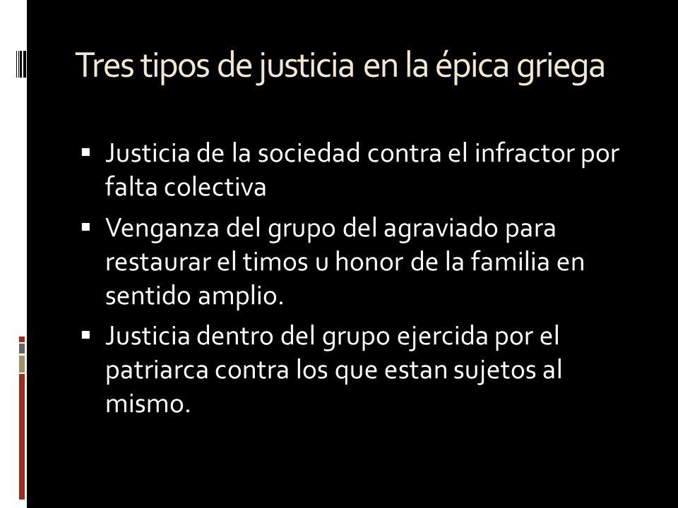 Tres tipos de justicia en la épica griega Justicia de la sociedad contra el infractor por falta colectiva Venganza del grupo del agraviado para restau