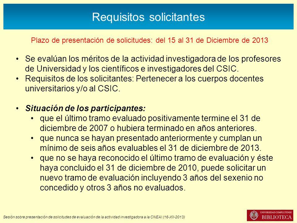 Sesión sobre presentación de solicitudes de evaluación de la actividad investigadora a la CNEAI (16-XII-2013) Requisitos solicitantes Plazo de presentación de solicitudes: del 15 al 31 de Diciembre de 2013 Se evalúan los méritos de la actividad investigadora de los profesores de Universidad y los científicos e investigadores del CSIC.