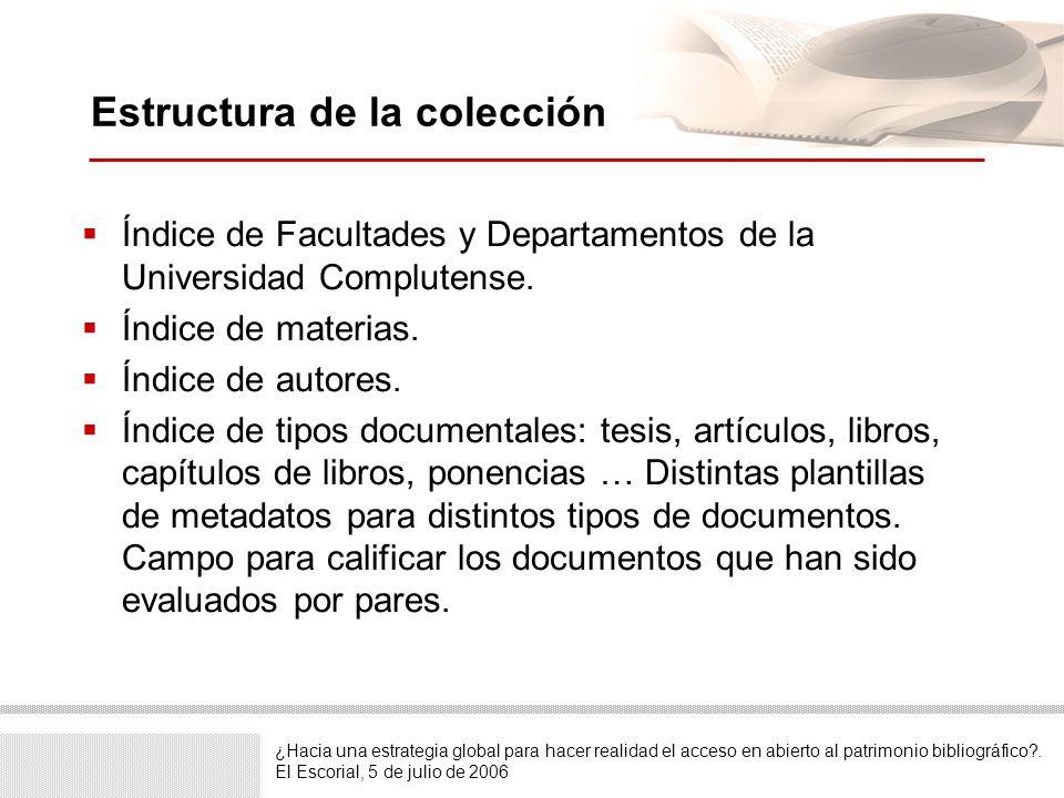 Estructura de la colección Índice de Facultades y Departamentos de la Universidad Complutense. Índice de materias. Índice de autores. Índice de tipos