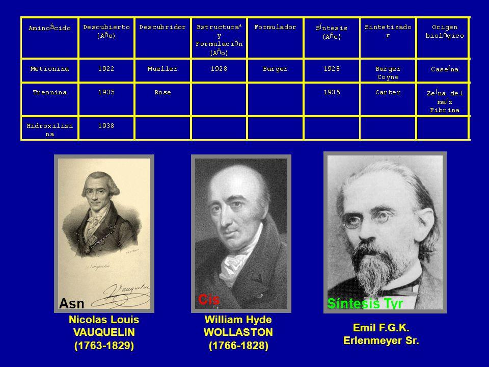 Nicolas Louis VAUQUELIN (1763-1829) Asn William Hyde WOLLASTON (1766-1828) Cis Emil F.G.K. Erlenmeyer Sr. Síntesis Tyr