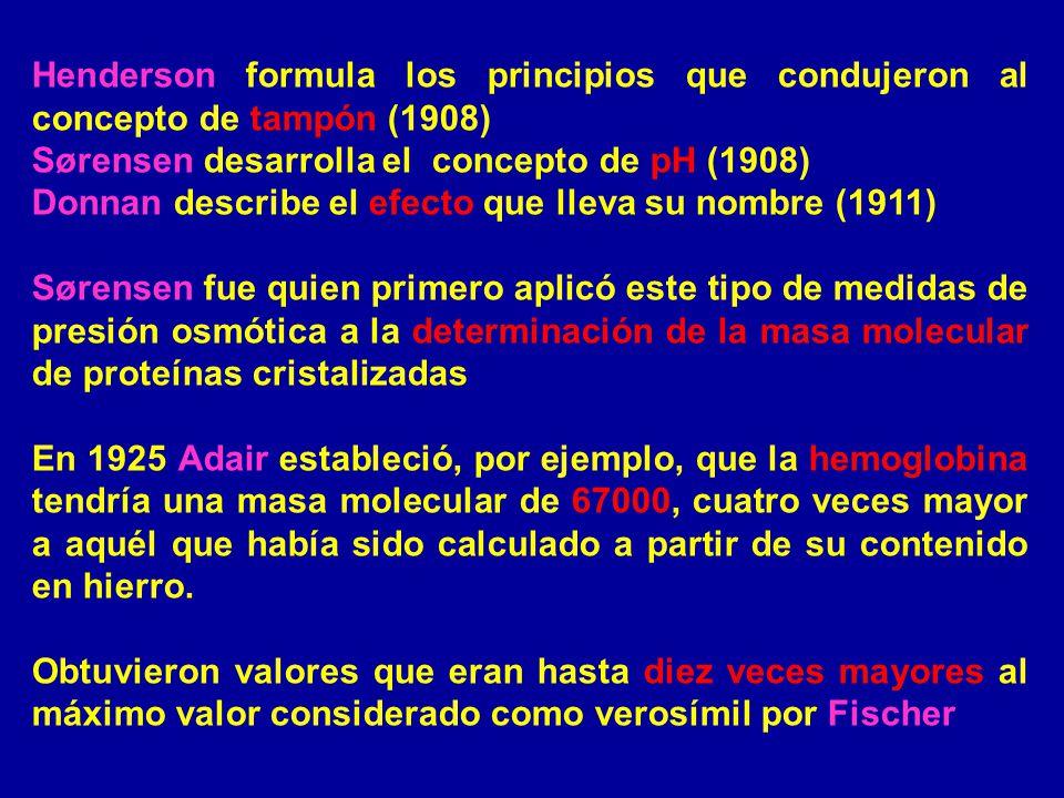 Henderson formula los principios que condujeron al concepto de tampón (1908) Sørensen desarrolla el concepto de pH (1908) Donnan describe el efecto qu