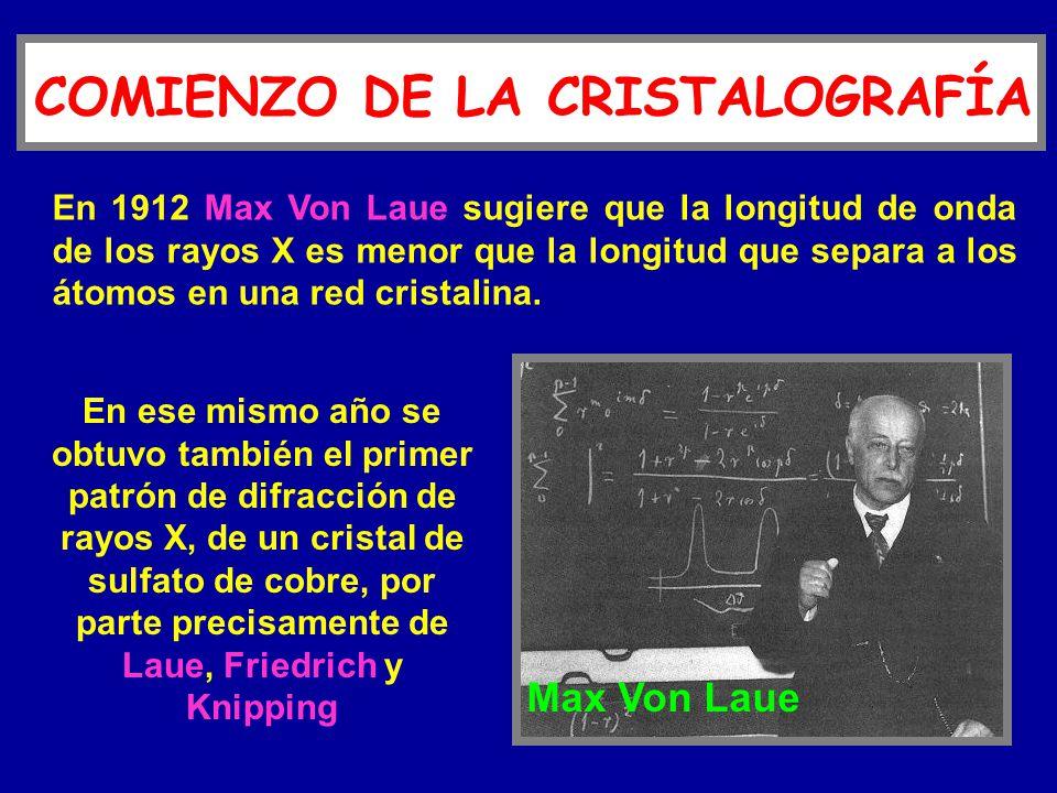 En 1912 Max Von Laue sugiere que la longitud de onda de los rayos X es menor que la longitud que separa a los átomos en una red cristalina. En ese mis