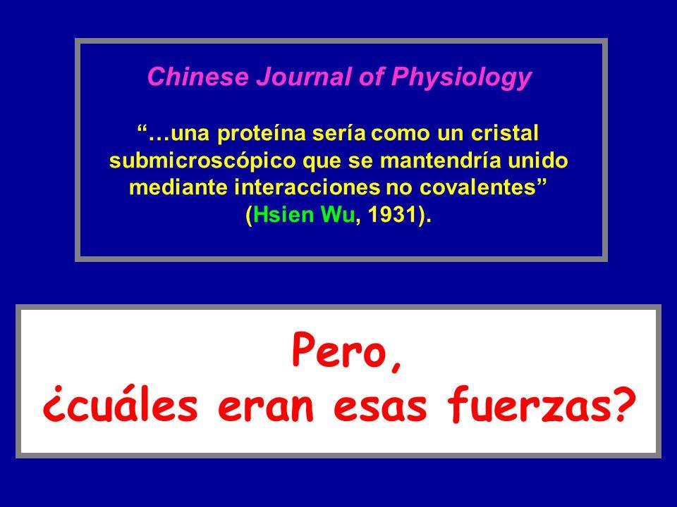 Chinese Journal of Physiology …una proteína sería como un cristal submicroscópico que se mantendría unido mediante interacciones no covalentes (Hsien