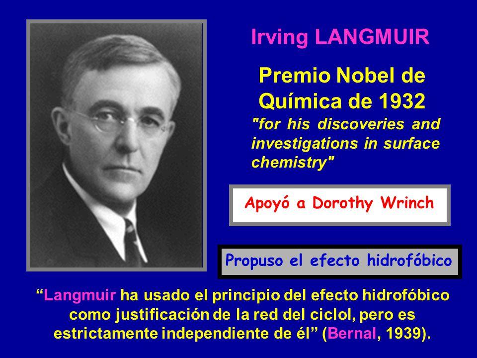 Langmuir ha usado el principio del efecto hidrofóbico como justificación de la red del ciclol, pero es estrictamente independiente de él (Bernal, 1939