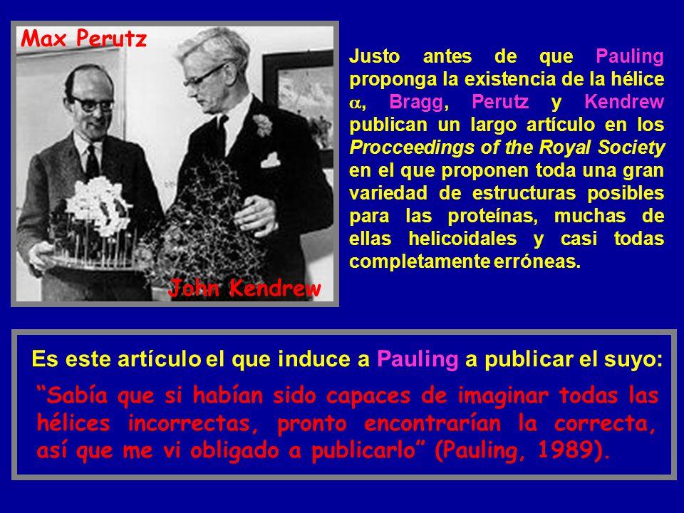 Justo antes de que Pauling proponga la existencia de la hélice, Bragg, Perutz y Kendrew publican un largo artículo en los Procceedings of the Royal So
