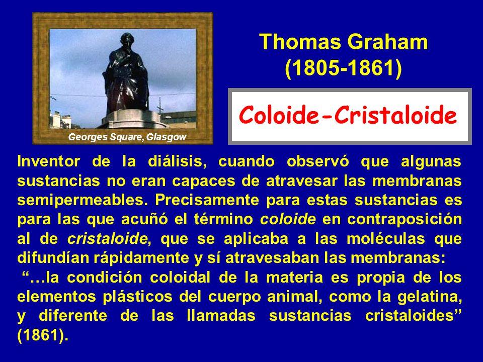 Thomas Graham (1805-1861) Inventor de la diálisis, cuando observó que algunas sustancias no eran capaces de atravesar las membranas semipermeables. Pr