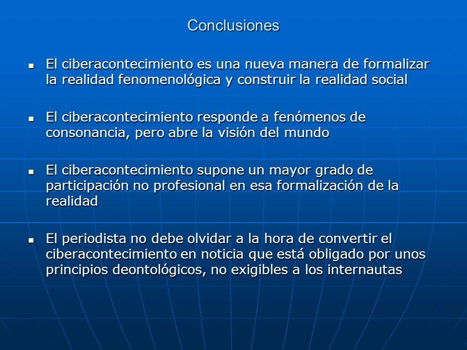 Conclusiones El ciberacontecimiento es una nueva manera de formalizar la realidad fenomenológica y construir la realidad social El ciberacontecimiento