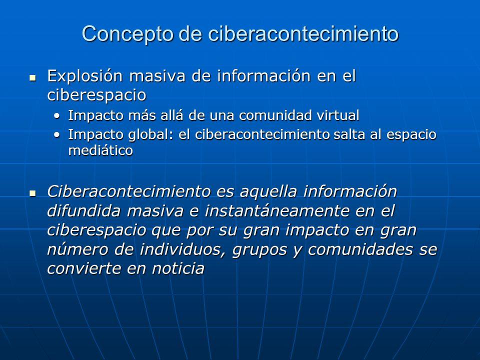 Concepto de ciberacontecimiento Explosión masiva de información en el ciberespacio Explosión masiva de información en el ciberespacio Impacto más allá de una comunidad virtualImpacto más allá de una comunidad virtual Impacto global: el ciberacontecimiento salta al espacio mediáticoImpacto global: el ciberacontecimiento salta al espacio mediático Ciberacontecimiento es aquella información difundida masiva e instantáneamente en el ciberespacio que por su gran impacto en gran número de individuos, grupos y comunidades se convierte en noticia Ciberacontecimiento es aquella información difundida masiva e instantáneamente en el ciberespacio que por su gran impacto en gran número de individuos, grupos y comunidades se convierte en noticia