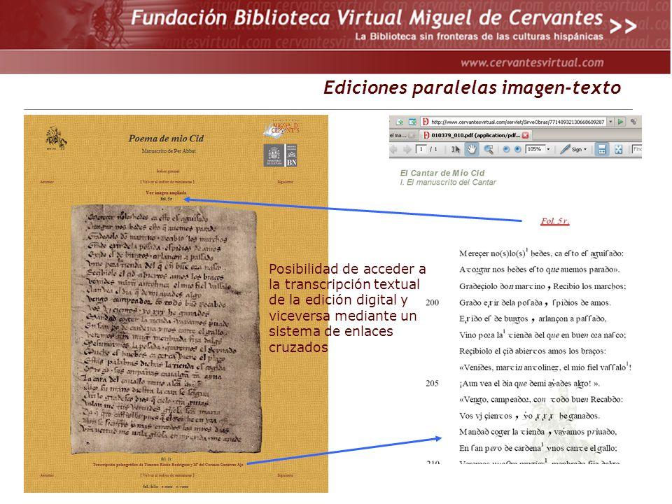 . Ediciones paralelas imagen-texto Posibilidad de acceder a la transcripción textual de la edición digital y viceversa mediante un sistema de enlaces cruzados