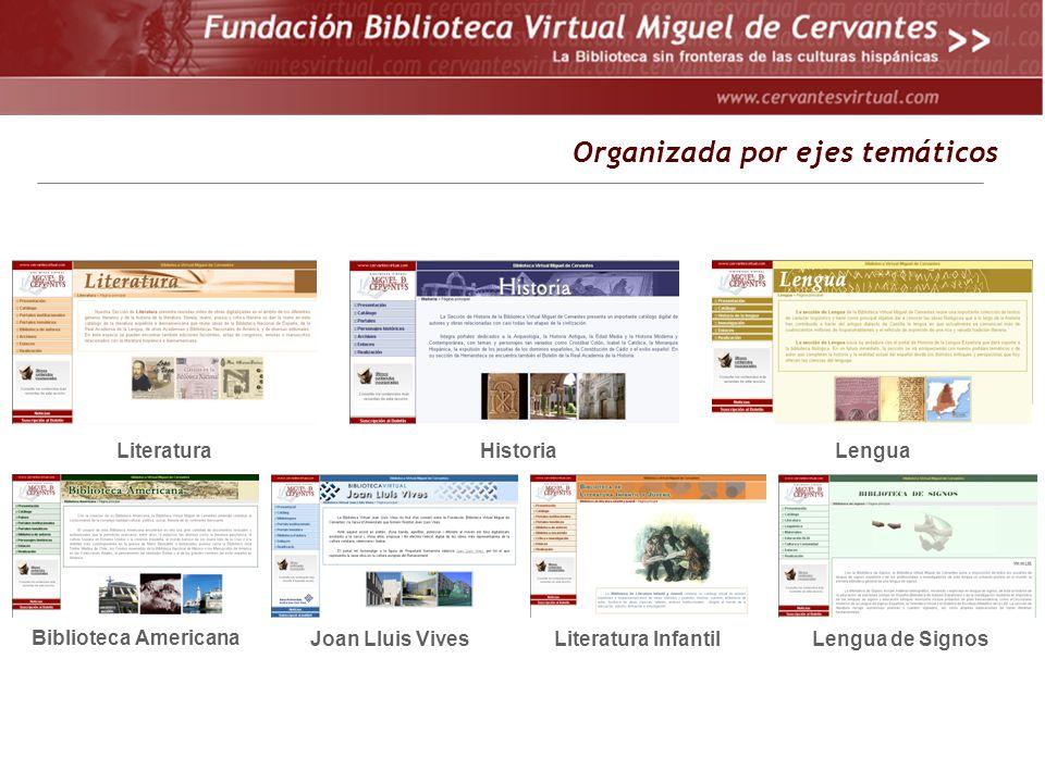 Organizada por ejes temáticos LiteraturaHistoriaLengua Biblioteca Americana Joan Lluis VivesLiteratura InfantilLengua de Signos