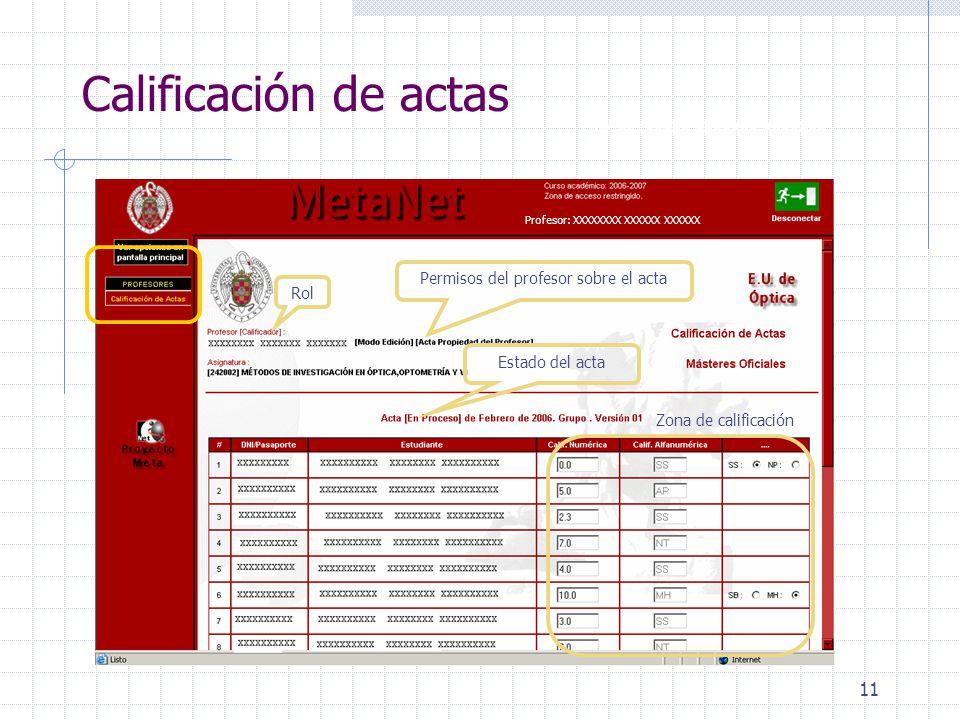 11 Calificación de actas Rol Profesor: XXXXX XXXXXXX XXXXXXX Profesor: XXXXXXXX XXXXXX XXXXXX Permisos del profesor sobre el acta Estado del acta Zona de calificación