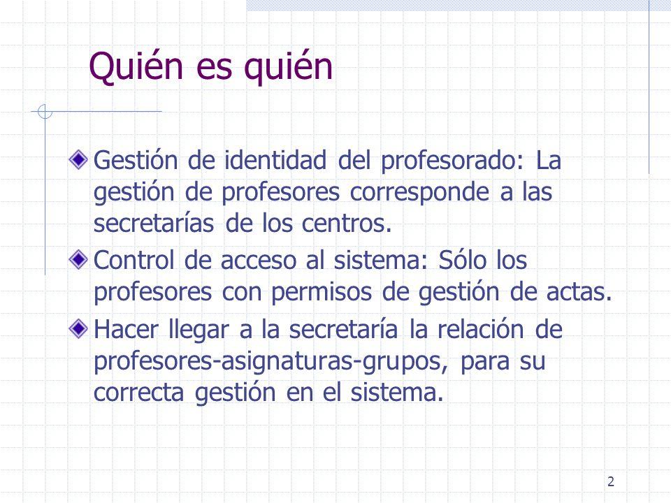 2 Quién es quién Gestión de identidad del profesorado: La gestión de profesores corresponde a las secretarías de los centros.