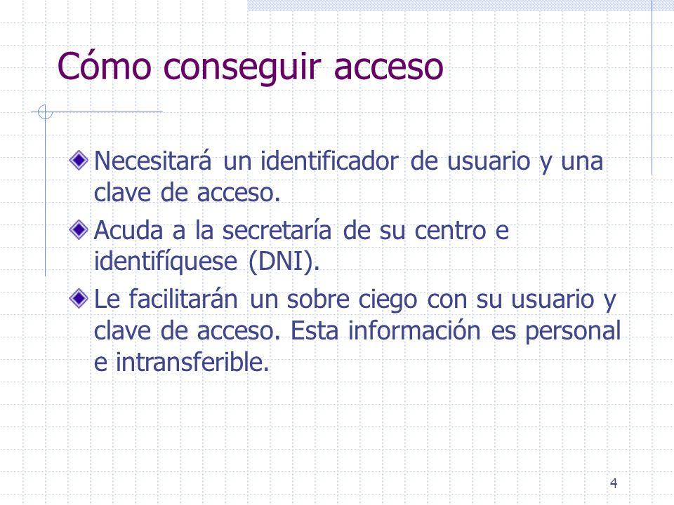 4 Cómo conseguir acceso Necesitará un identificador de usuario y una clave de acceso.