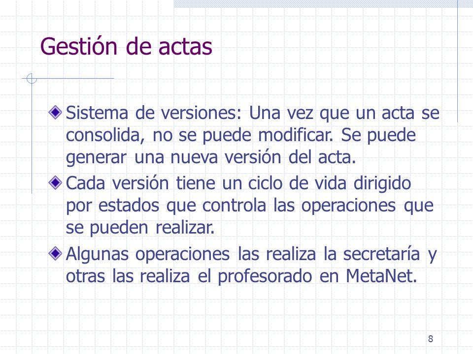 8 Gestión de actas Sistema de versiones: Una vez que un acta se consolida, no se puede modificar.