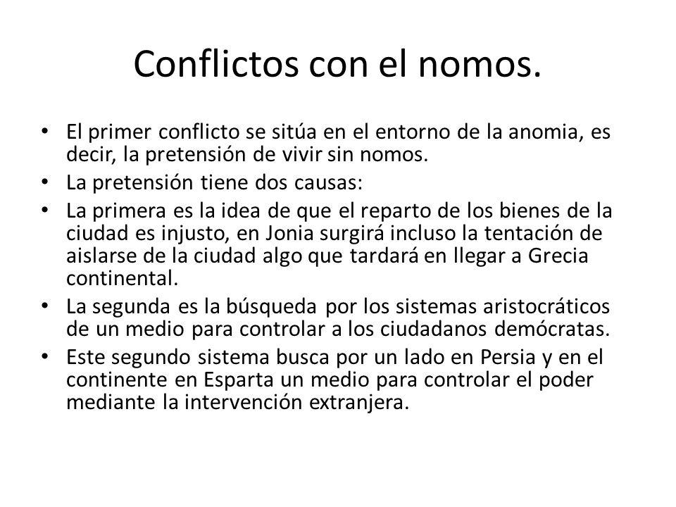 Conflictos con el nomos. El primer conflicto se sitúa en el entorno de la anomia, es decir, la pretensión de vivir sin nomos. La pretensión tiene dos