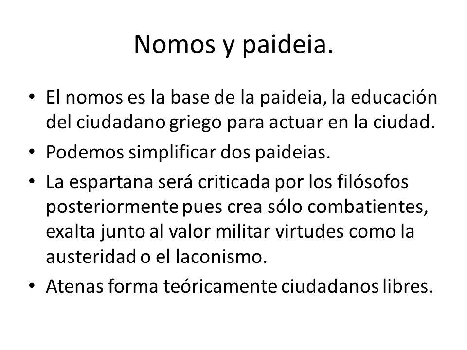 Nomos y paideia. El nomos es la base de la paideia, la educación del ciudadano griego para actuar en la ciudad. Podemos simplificar dos paideias. La e