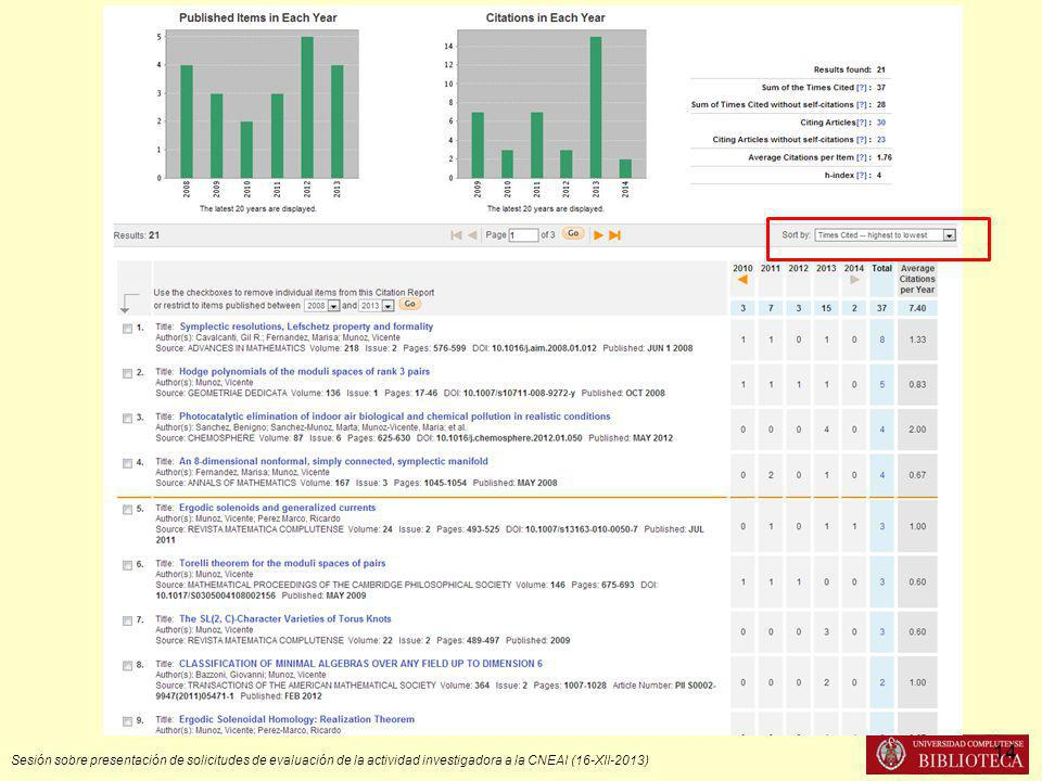 Sesión sobre presentación de solicitudes de evaluación de la actividad investigadora a la CNEAI (16-XII-2013) 14