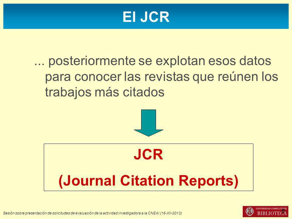 Sesión sobre presentación de solicitudes de evaluación de la actividad investigadora a la CNEAI (16-XII-2013) El JCR...