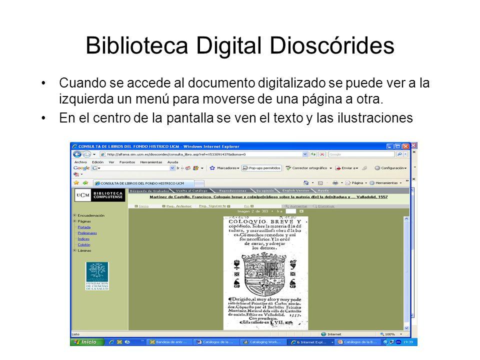Biblioteca Digital Dioscórides Cuando se accede al documento digitalizado se puede ver a la izquierda un menú para moverse de una página a otra.