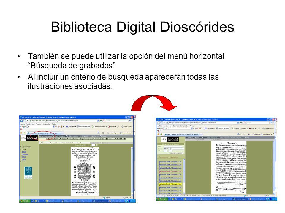 Biblioteca Digital Dioscórides También se puede utilizar la opción del menú horizontal Búsqueda de grabados Al incluir un criterio de búsqueda aparecerán todas las ilustraciones asociadas.