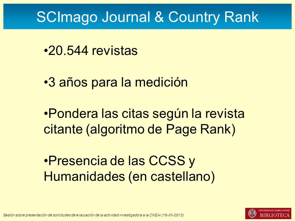 Sesión sobre presentación de solicitudes de evaluación de la actividad investigadora a la CNEAI (16-XII-2013) SCImago Journal & Country Rank 20.544 re