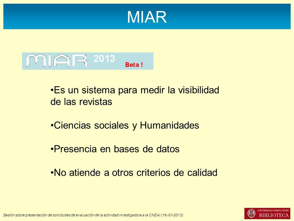 MIAR Es un sistema para medir la visibilidad de las revistas Ciencias sociales y Humanidades Presencia en bases de datos No atiende a otros criterios