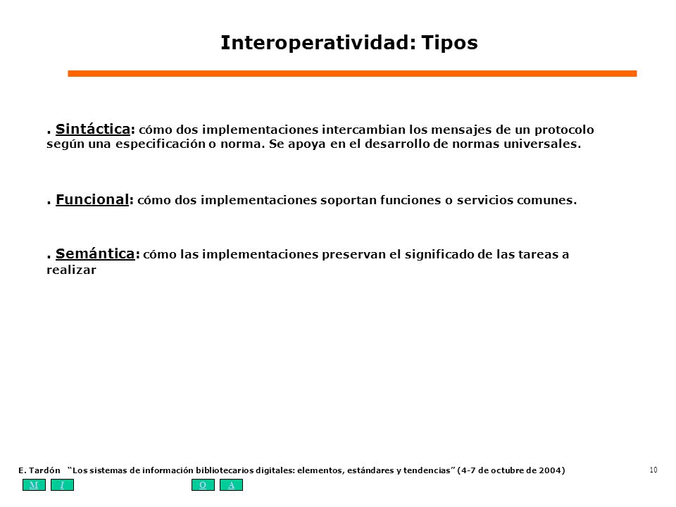 MIOA E. Tardón Los sistemas de información bibliotecarios digitales: elementos, estándares y tendencias (4-7 de octubre de 2004) 10 Interoperatividad:
