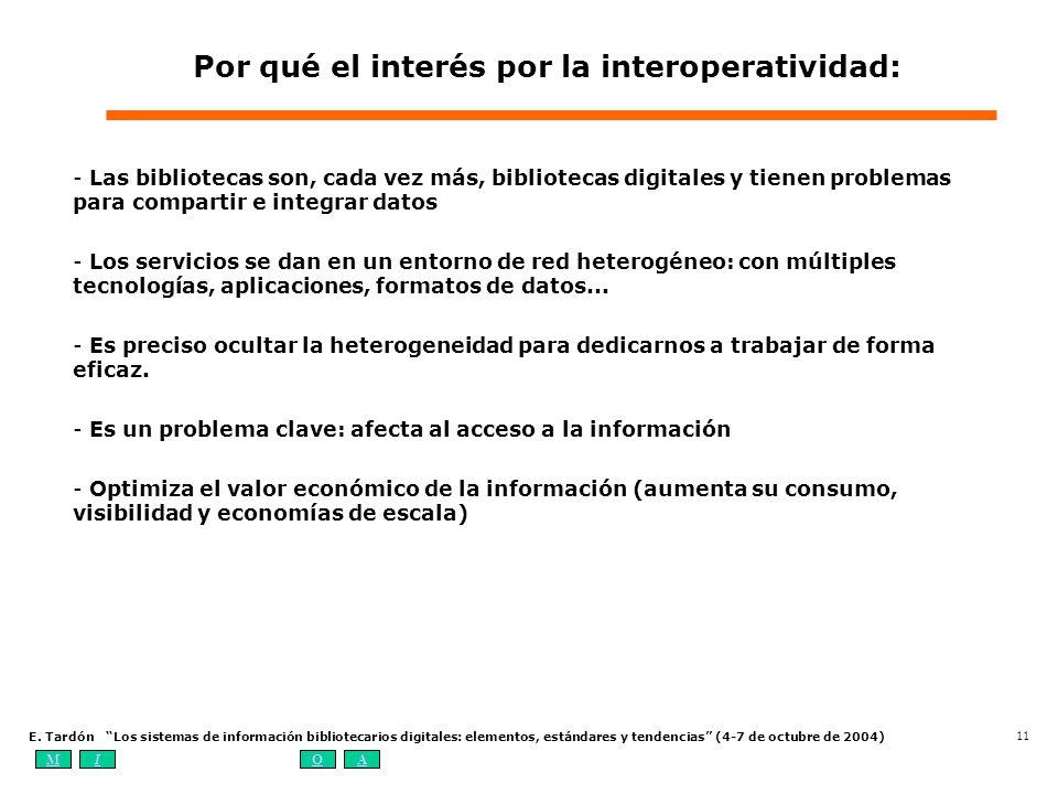 MIOA E. Tardón Los sistemas de información bibliotecarios digitales: elementos, estándares y tendencias (4-7 de octubre de 2004) 11 Por qué el interés