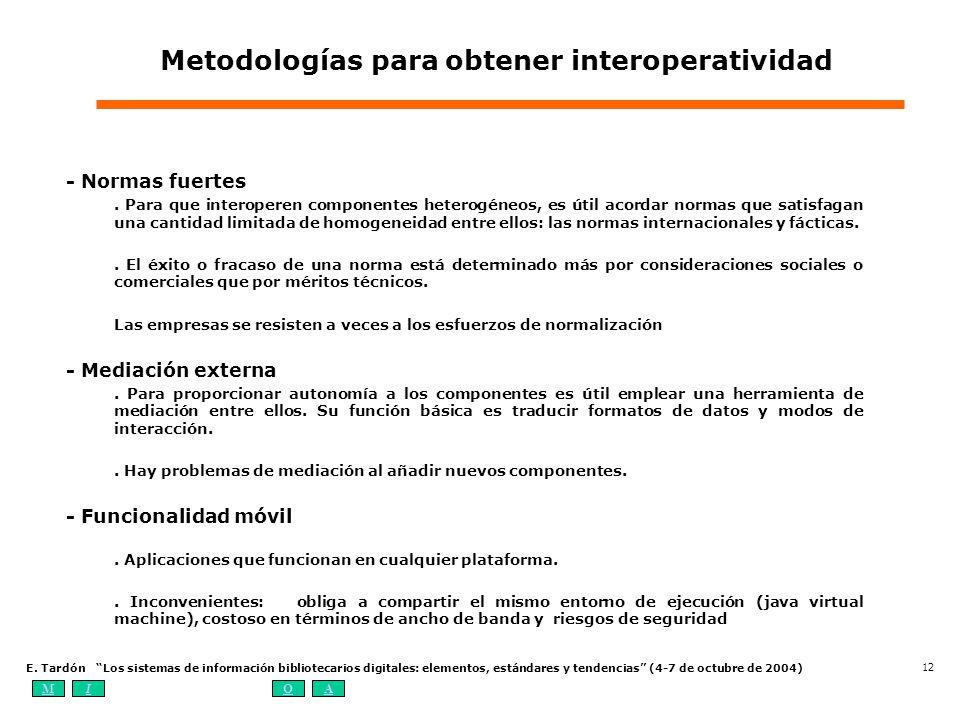 MIOA E. Tardón Los sistemas de información bibliotecarios digitales: elementos, estándares y tendencias (4-7 de octubre de 2004) 12 Metodologías para