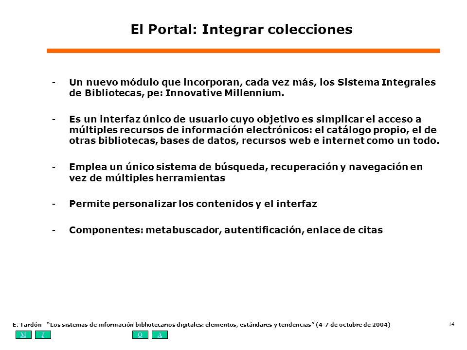 MIOA E. Tardón Los sistemas de información bibliotecarios digitales: elementos, estándares y tendencias (4-7 de octubre de 2004) 14 El Portal: Integra
