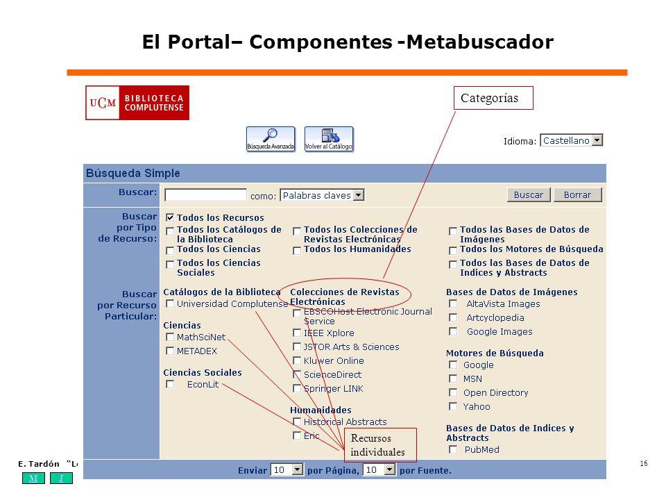 MIOA E. Tardón Los sistemas de información bibliotecarios digitales: elementos, estándares y tendencias (4-7 de octubre de 2004) 16 El Portal– Compone