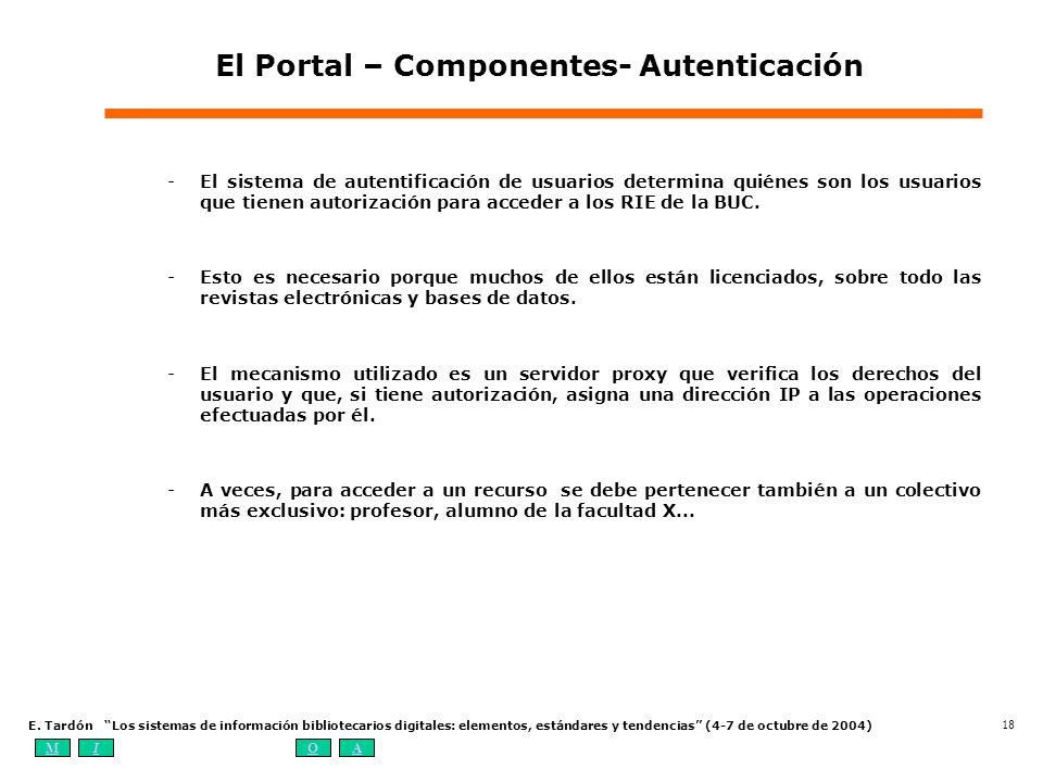MIOA E. Tardón Los sistemas de información bibliotecarios digitales: elementos, estándares y tendencias (4-7 de octubre de 2004) 18 -El sistema de aut