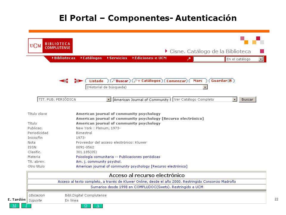 MIOA E. Tardón Los sistemas de información bibliotecarios digitales: elementos, estándares y tendencias (4-7 de octubre de 2004) 22 El Portal – Compon