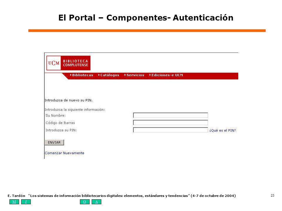 MIOA E. Tardón Los sistemas de información bibliotecarios digitales: elementos, estándares y tendencias (4-7 de octubre de 2004) 23 El Portal – Compon