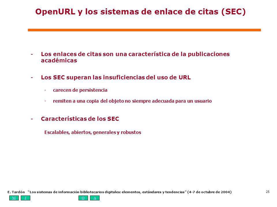 MIOA E. Tardón Los sistemas de información bibliotecarios digitales: elementos, estándares y tendencias (4-7 de octubre de 2004) 25 OpenURL y los sist