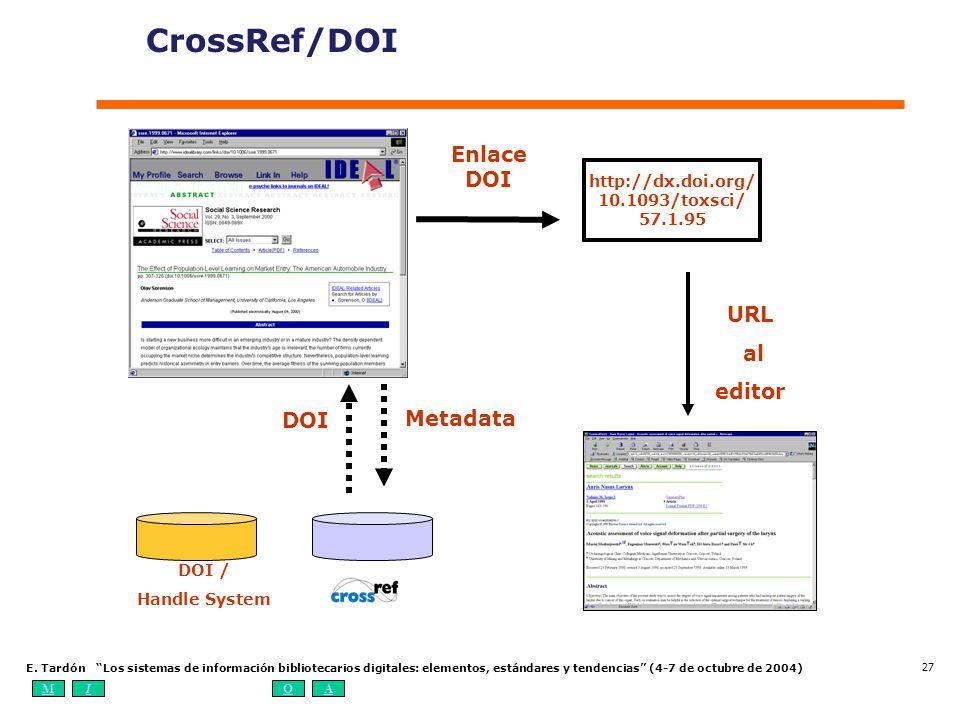 MIOA E. Tardón Los sistemas de información bibliotecarios digitales: elementos, estándares y tendencias (4-7 de octubre de 2004) 27 CrossRef/DOI Metad